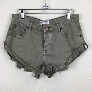 ONE X One Teaspoon Bandits Denim Cut Off Shorts 27